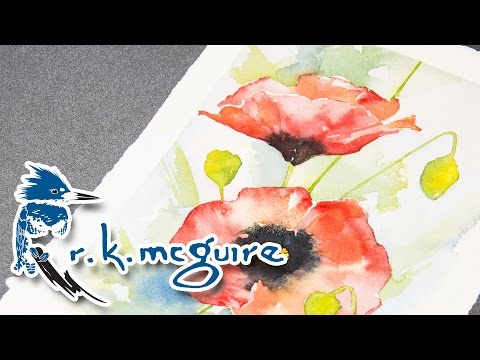 How to Watercolor Paint Poppies for Mother's Day | R K McGuire