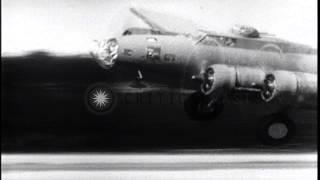American bombers bomb Nazi U-Boat bases in Germany. HD Stock Footage
