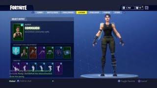 Fortnite Commando skin showcase with 28 different backblings