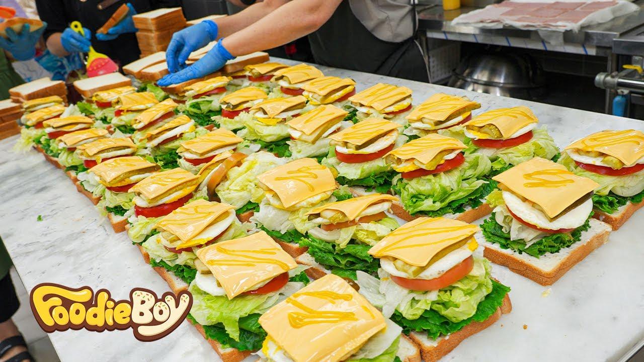 Download 주문 폭주! 터질듯한 최상급 재료! 샌드위치 끝판왕 등장! / Ham and Egg Cheese Sandwich / Korean street food