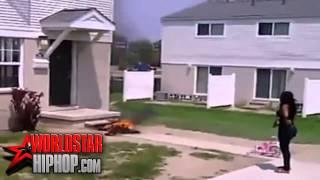 KARMA : woman sets clothes on fire