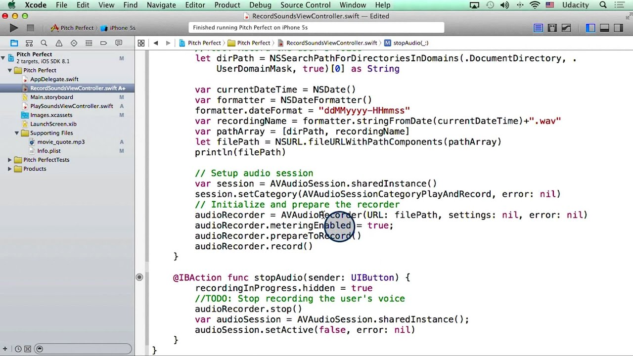 Adding Code to Record and Stop Audio - Intro to iOS App Development with  Swift