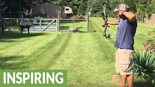 Bow-shooting father surprises family at gender reveal party