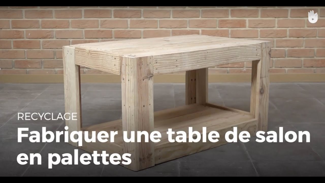 Fabriquer une table de salon en palette recycler youtube for Table jardin palette