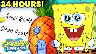 24 Hours Inside SpongeBob's House!  An Entire Day at the Pineapple