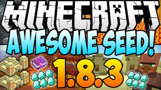★ Minecraft 1.8.3 Seeds: 10 DIAMONDS, 3 TEMPLES, 2 DUNGEONS, STRONGHOLD, VILLAGE AT SPAWN (1.8 Seed)