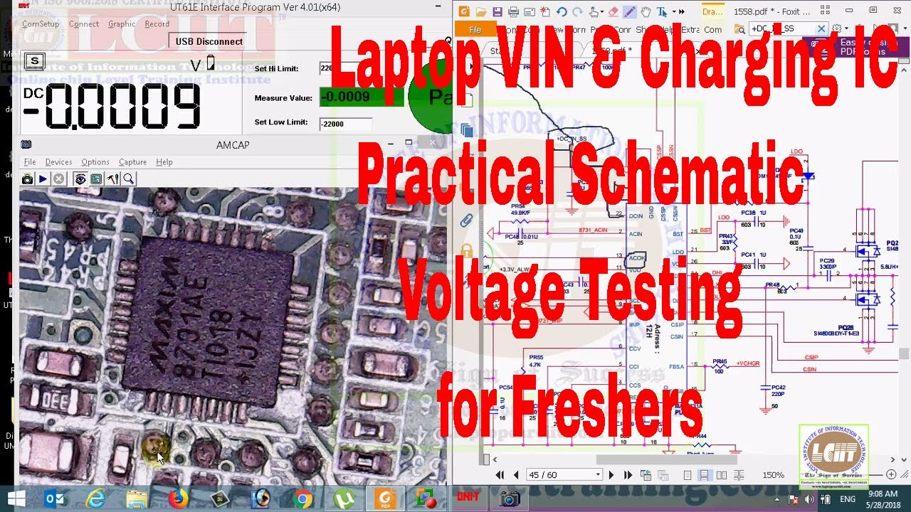 Laptop VIN & Battery Charging IC Practical Voltage Testing with schematic &  Datasheet
