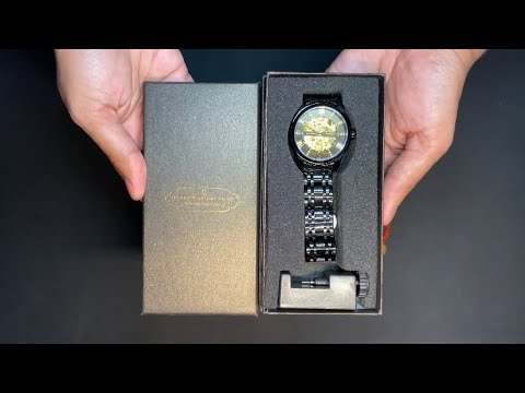 Lavaredo Mens Automatic Mechanical Black Watch By ALPS TWS9005 - Unboxing And Review!