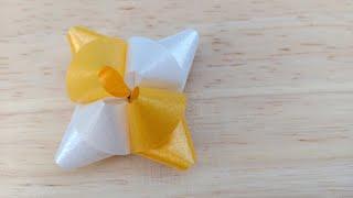 วิธีพับเหรียญโปรยทาน ดอกลำดวน/Diy flower ribbon/20-5-62.