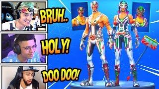 STREAMERS REACT TO 'NEW' MASKED FURY - DYNAMO SKINS! AXE PILEDRIVER! Moments Fortnite FUNNY