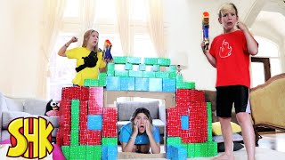 Noah Crashed our Block Fort Challenge! SuperHeroKids Funny Family Videos Compilation