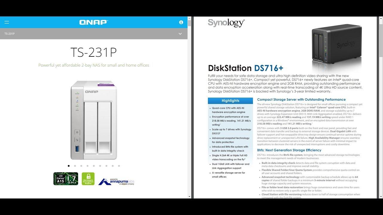 QNAP TS-231P(1G) vs Synology DS716+(8G): SMB write performance Test