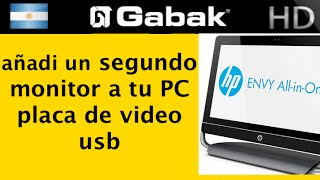 Como conectar segundo monitor all in one PC adaptador vga a usb