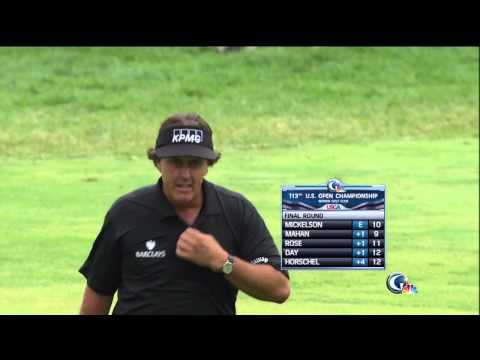 US Open: Phil Mickelson Eagles 10th Hole From Rough