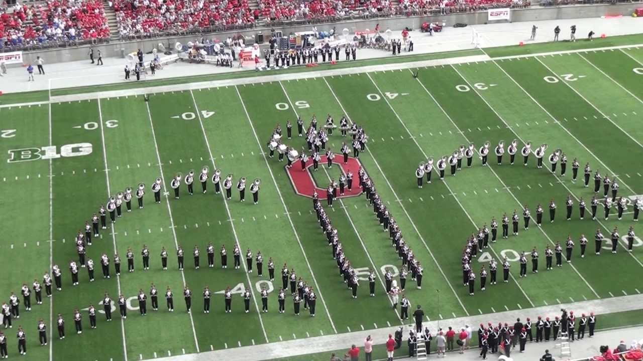 "ohio state marching band ""disney tribute"" halftime vs buffalo: aug"