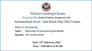 Intermediate Paper-1: Topic: Overview of Accounting Standards Morning Session Date: 12-2-2021