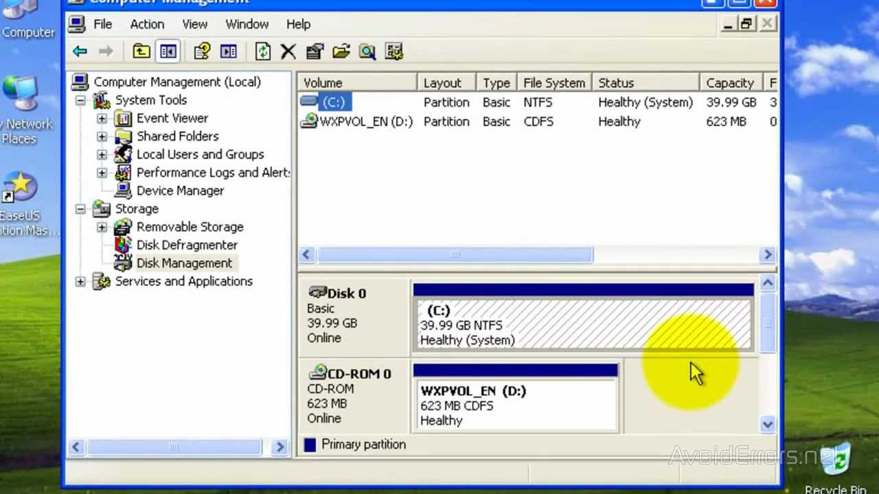 How To Partition C: Drive Windows XP