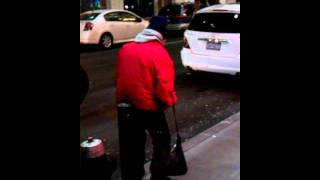 Drunk old lady in front of footlocker 34th st.