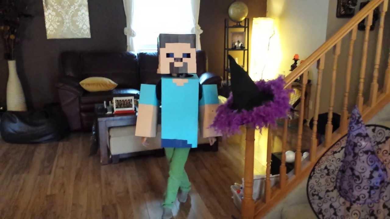 Minecraft Steve Home Made Halloween Costume - YouTube