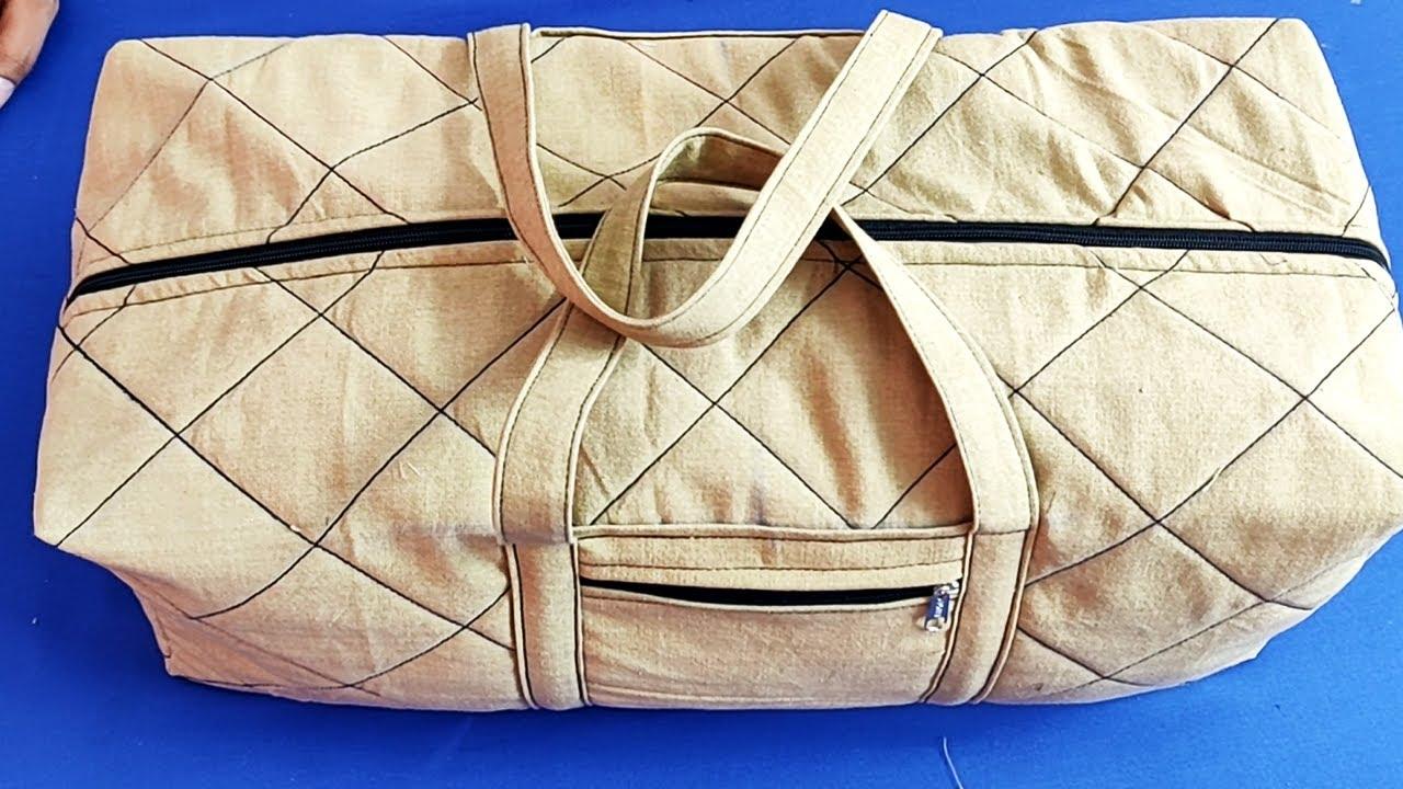 ट्रैवल बैग बनाने का आसान तरीका Handmade Travel Bag Cutting and Stitching / Zipper Bag /Shopping Bag