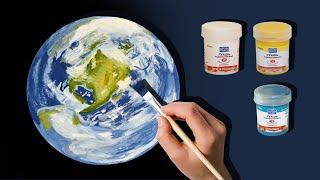 Как нарисовать планету Земля гуашью
