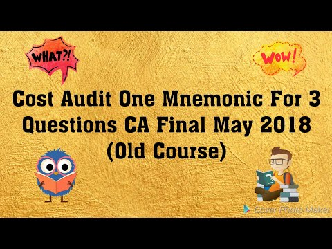 Cost Audit!CA Final May 2018!CA Final Audit Group 1 Old Course!