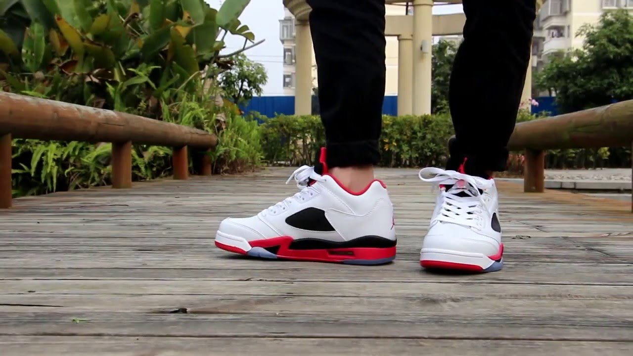 wholesale dealer d9373 8a853 Review Authentic Air Jordan 5 Low Fire Red 5 On Feet From Gogokicksgame.com
