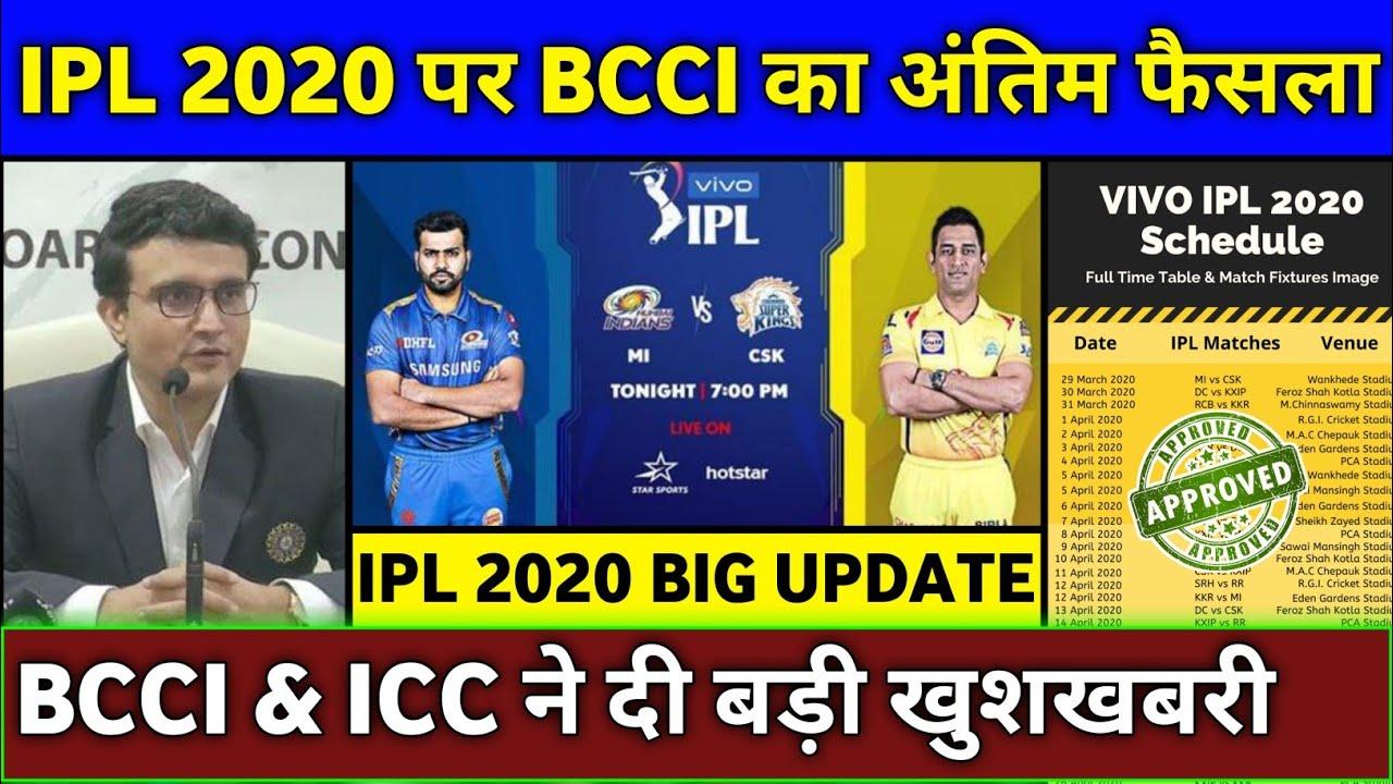 IPL 2020 - BCCI & ICC Final Decision on Hosting of Vivo IPL 2020   IPL 2020 Biggest Good News