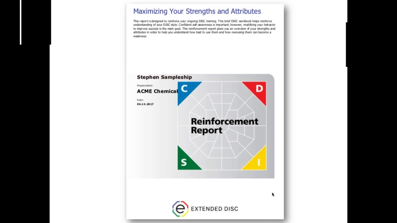 Extended DISC® Reinforcement Report: Maximizing Your Strengths and  Attributes