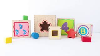 Learn Letters, Numbers, and Shapes with Stackable Blocks by Eichhorn Toys