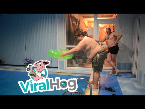 Bodhi - This Hefty Guy Dives Through a Small Inflatable Pool Toy (Video)