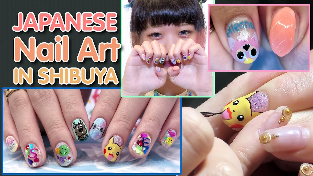 Cute Japanese Nail art by Cabbage Manami in Shibuya - YouTube