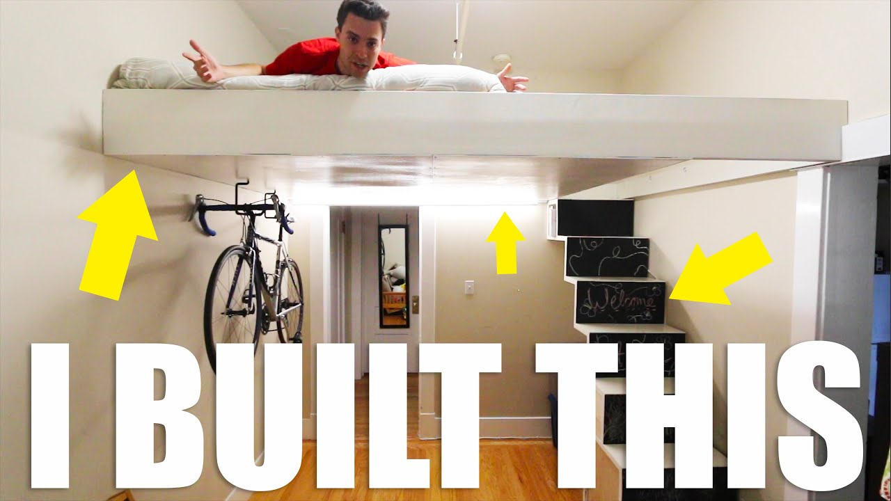 Diy Loft Bed And Staircase Build With Free 99 Plans Youtube