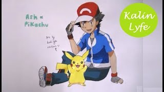 How to draw Ash Ketchum & Pikachu from Pokemon