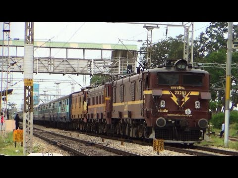 Indian Railways Triple Electric Locomotives : Extreme acceleration twin BSL WAG5A + AJJ WAM4