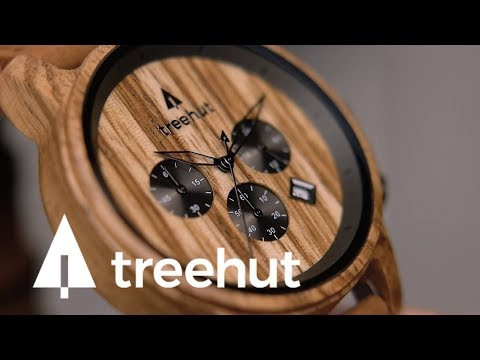 Treehut Wooden Watches | North Ebony Zebrawood Brown Mens Chronograph Leather Watch