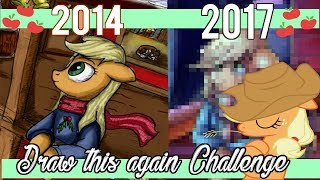 Draw this Again Challenge  Applejack in Winter (2014 vs 2017) By Manny
