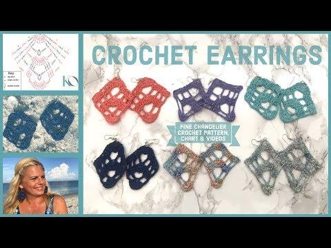 LEFT HAND FIne Chandelier Crochet Earrings Easy Beginner Project plus Chart