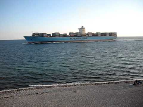 Container ship Eugen Maersk passing Helgenaes Denmark