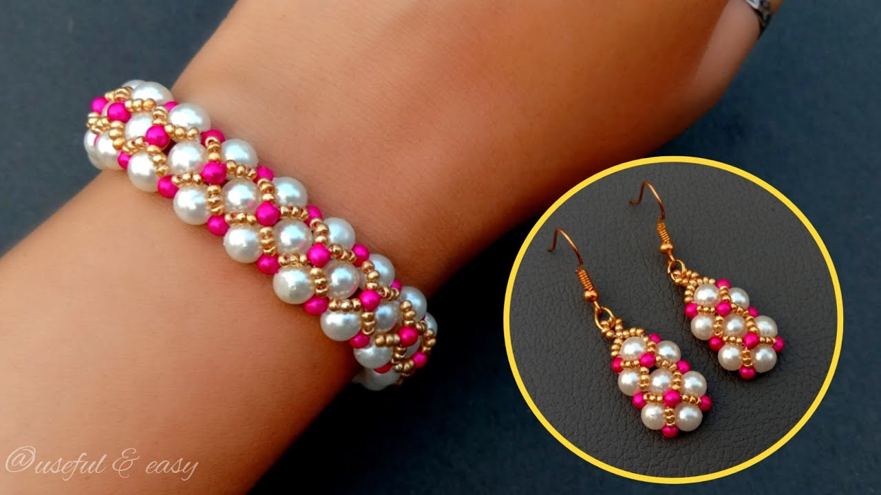Romantic Bracelet That You Will Love//Beaded Bracelet & Earrings// Useful & Easy