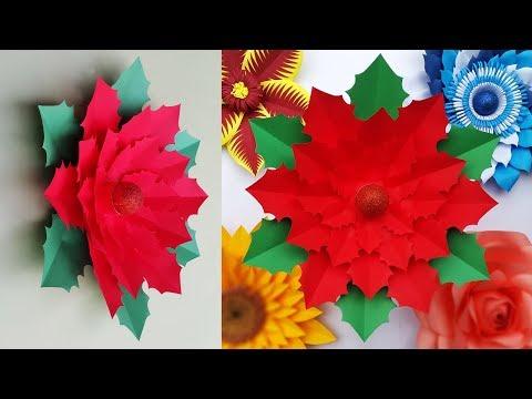 DIY Christmas Decor | Paper Flower Poinsettia Making for Xmas | Christmas Decoration Ideas