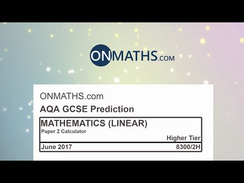 2017 AQA Paper 2 Predicted Higher Maths GCSE Paper Calculator Exam 8300/2H