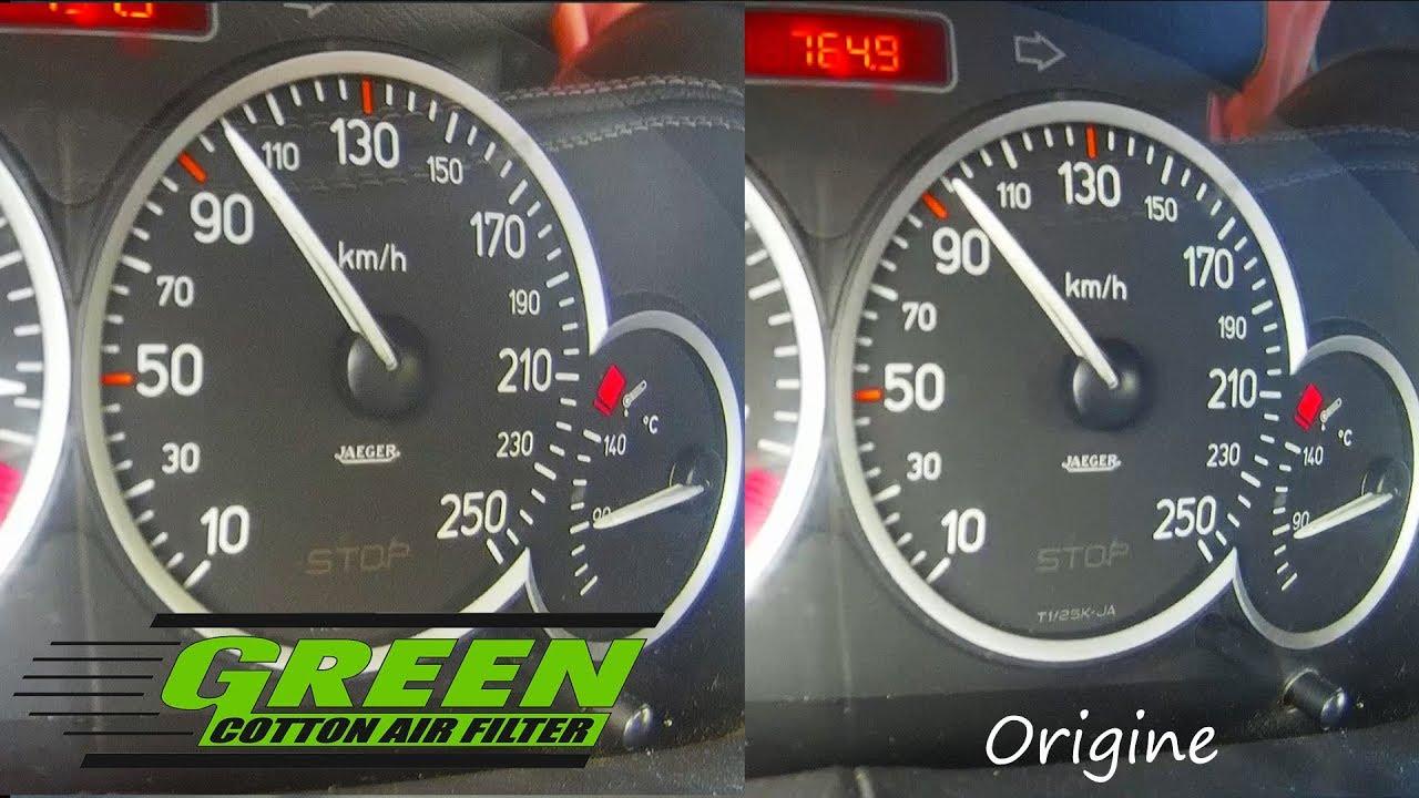 comparatif filtre a air green vs filtre origine peugeot 206 rc 177 ch