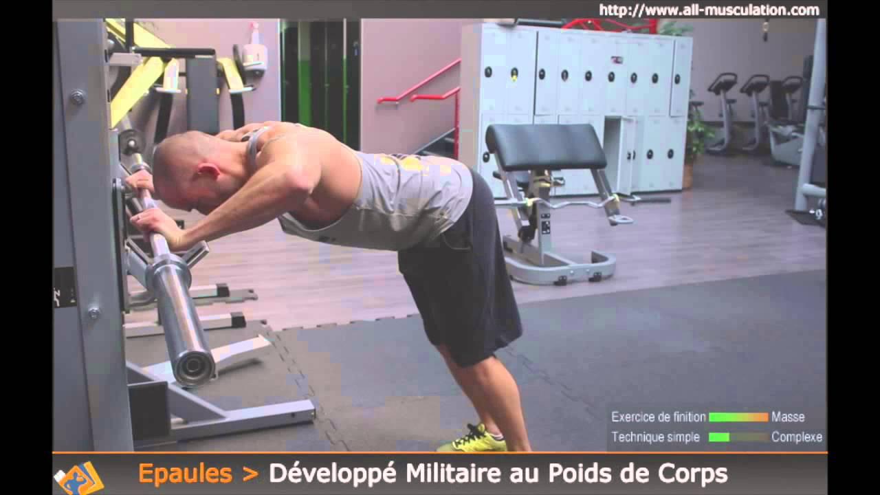 Exercice Du Developpe Militaire Au Poids De Corps Exo Des Epaules Youtube