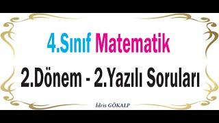 4. Sınıf Matematik 2. Dönem 2. Yazılı Hazırlık Soruları