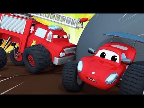 Monster Trucks pour enfants - Max est coincé dans une grotte ! -Monster Town 🚗 Dessin animé enfants