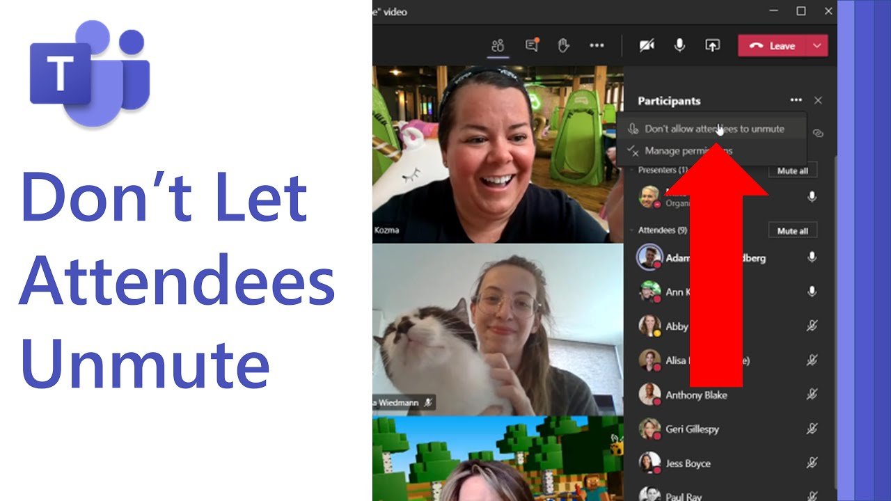 Don't allow attendees to unmute in Microsoft Teams meetings
