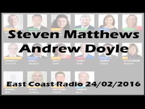 Andrew Doyle Steven Matthews on East Coast FM