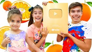 Mia Nastya and Artem - story for children about oranges and a golden button