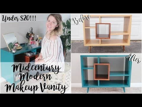 Thrifted Furniture Makeover Midcentury Modern Makeup Vanity Youtube
